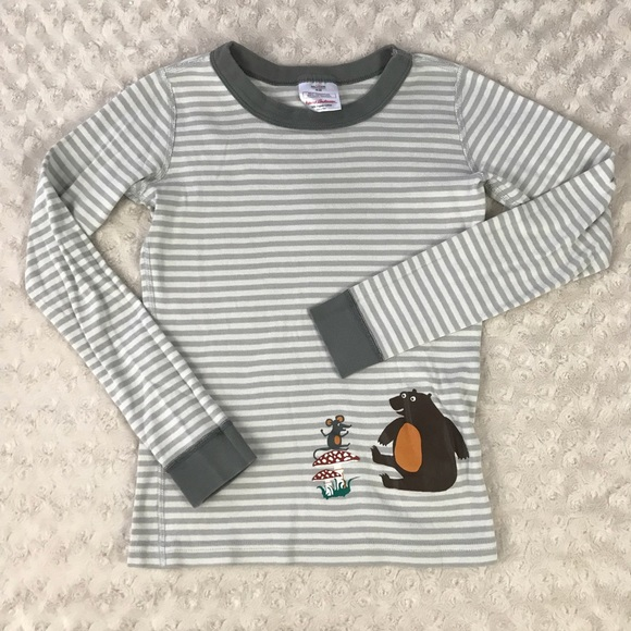 Hanna Andersson Other - Hanna Andersson Pajama Top Gray Stripes Bear 10